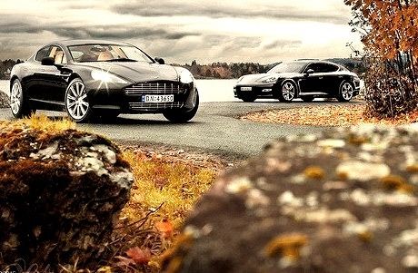Aston Martin Rapide and Porsche Panamera
